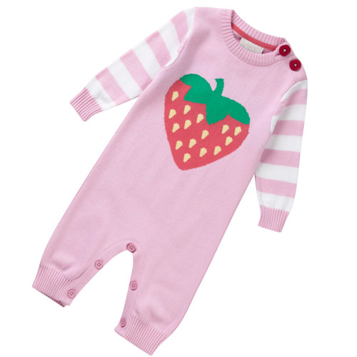 Strawberry Knit Playsuit . Organic Cotton - Fair Trade