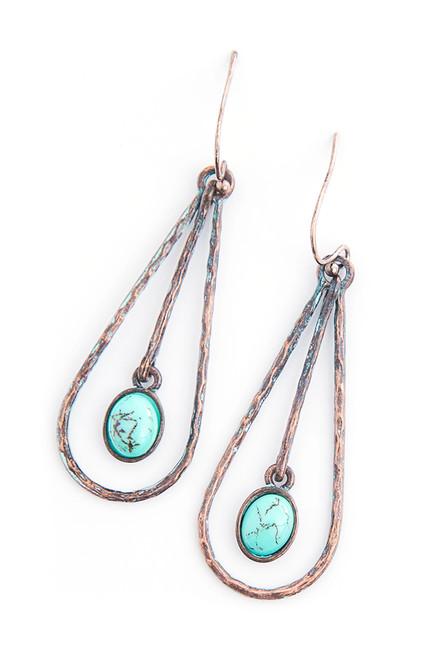 Montezuma Earrings . Reclaimed Brass