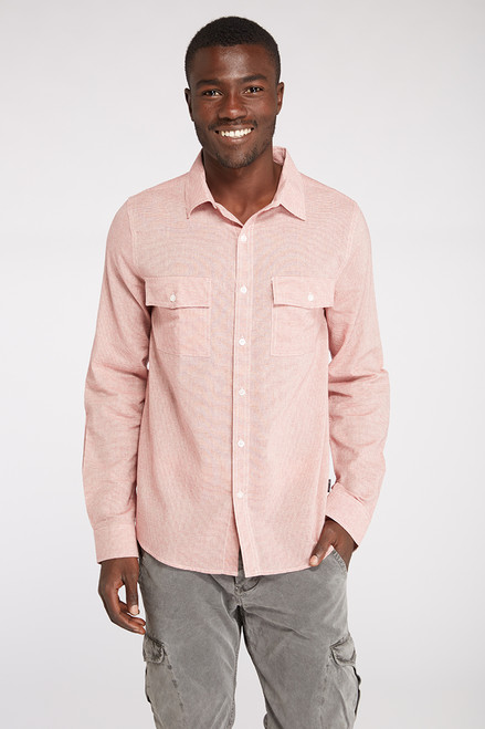 LS Small Stripe Double Pocket Woven Shirt - Organic Cotton