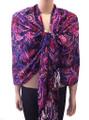 New! Pashmina  Flowers Print  Purple Dozen #90-5