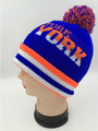 New York Colorful  Beanie Hats With Ball Assorted Dozen #H114