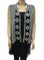 Two Tone Knit Vest Open Poncho  Black /White # P049-2