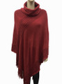 Solid Color Turtleneck Soft Feel Poncho Assorted Dozen # P055