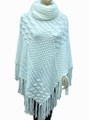 Solid Color Turtleneck Cable-Knit Poncho White # P053-5