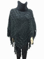 Two-Tone Turtleneck Cable Knit Poncho Black # P032-2