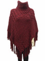 Two-Tone Turtleneck Cable Knit Poncho Burgundy # P032-4