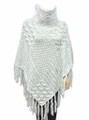 Two-Tone Turtleneck Cable Knit Poncho white # P032-5