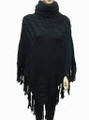 Solid Color Turtleneck Cable-Knit Poncho Black # P053-1