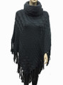 Solid Color Turtleneck Cable-Knit Poncho Grey # P053-3