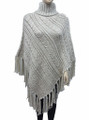 Two-Tone Cable-Knit Poncho Beige # P054-2