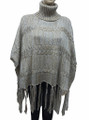 Two-Tone Soft Feel Turtleneck Knit Poncho Beige # P033-1