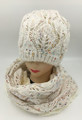 Knit Beanie Hats Infinity Scarf sets White #HS1145