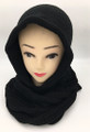New! Soft Knit Pullover Hood Infinity Scarf Black # 1525