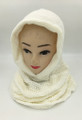 New! Soft Knit Pullover Hood Infinity Scarf White # 1525