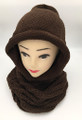 New! Soft Knit Pullover Hood Infinity Scarf Brown  # 1525