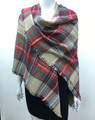Womens Stylish shawl  Scarf  Khaki / Red # P171-1021