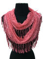 Lightweight Floral Lace Infinity Scarf with Long Fringe Assorted Dozen # S 808