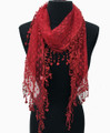 Lightweight Hart Design Lace Scarf with Fringe Assorted Dozen #726