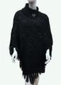 Sequin Button Turtleneck Knit Poncho Black # P168-1