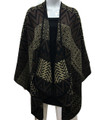 Women's Winter Reversible Chevron  Poncho Cape  Brown # P178-5
