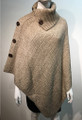 Ladies' Stylish Two-Tone Poncho Beige / Gray # P179-4