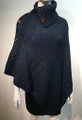 Ladies' Stylish Two-Tone Poncho Navy / Green # P179-5