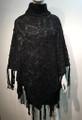 Two-Tone Knit Poncho black # P180-2