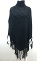 Solid Color  Cable-Knit Poncho Black  # P181-3
