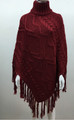 Solid Color  Cable-Knit Poncho Burgundy  # P181-4