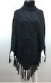 Solid Color  Cable-Knit Poncho Gray  # P181-5