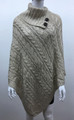 Solid Color Cable-Knit Button Turtleneck  Poncho Beige # P182-1