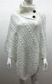 Solid Color Cable-Knit Button Turtleneck  Poncho White # P182-2