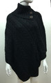 Solid Color Cable-Knit Button Turtleneck  Poncho Black # P182-5