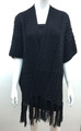 Solid Color Cable-Knit Short Sleeve Poncho  Black # P183-1