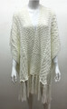 Solid Color Cable-Knit Short Sleeve Poncho  White # P183-2