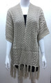 Solid Color Cable-Knit Short Sleeve Poncho  Beige # P183-3
