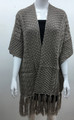 Solid Color Cable-Knit Short Sleeve Poncho  Taupe # P183-5