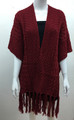 Solid Color Cable-Knit Short Sleeve Poncho  Red # P183-6