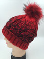 Two-tone Knit Cable Hats with Fur Ball Assorted Dozen #H1171