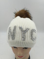New! NYC RhineStone Knit Hats with Fur Ball Assorted Dozen #H1195