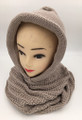 New! Soft Knit Pullover Hood Infinity Scarf Beige # 1525