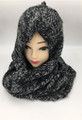 New! Two-Tone Winter Pullover Knit  Hood Infinity Scarf  Black # 1553