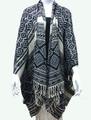 Women's Winter Reversible Diamond Design  Poncho Black  # P174-1