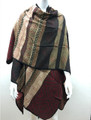 Women's Winter Reversible Multi Color  Poncho Red  # P177-2