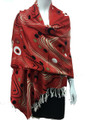 New! Pashmina Circle Striped Multi Color Red Dozen #116-1