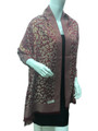 New!   Metallic Pashmina with Leopard Burgundy Dozen #P102-2