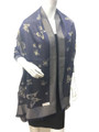 New!   Metallic  Butterfly Print  Pashmina  Navy Dozen #P103-4