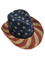 Summer Straw Outback Hat Vintage Stars and Stripes #8019-1