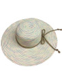 Summer Straw Big Brim String Bow Band Hat Ivory #8021-2
