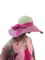 Summer Straw Floppy Fabric Bow Band with Stripes Hat Assorted Dozen #8022